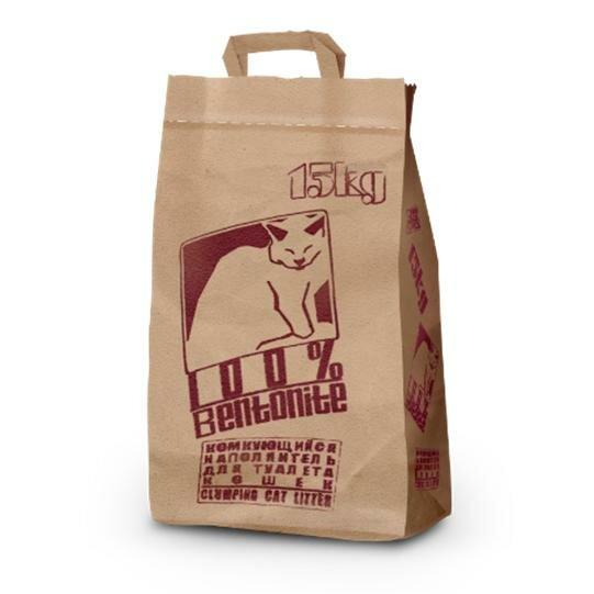 Минеральный комкующийся наполнитель No name (бумажный крафт-пакет) для кошек 15кг.