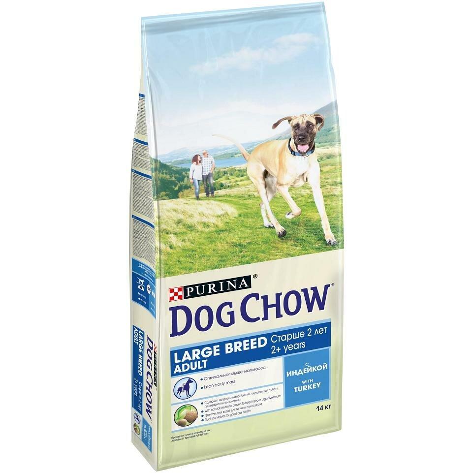 Сухой корм Dog Chow large breed для собак крупных пород индейка, 14 кг