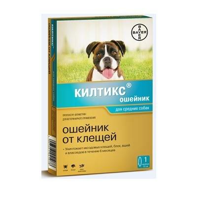 Ошейник Kiltix от блох и клещей (7мес), для средних собак 53см
