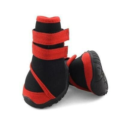 Ботинки Triol мягкие для собак M неопрен на липучках красные