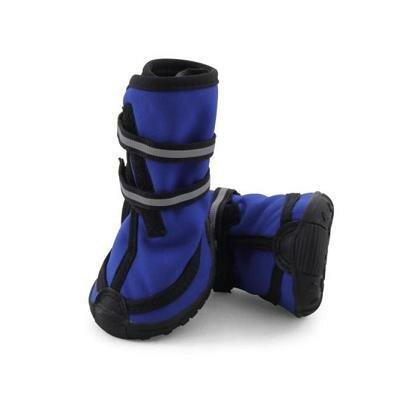 Ботинки Triol высокие для собак M светоотражающие на липучках синие