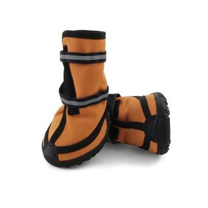 Ботинки Triol высокие для собак M светоотражающие на липучках оранжевые