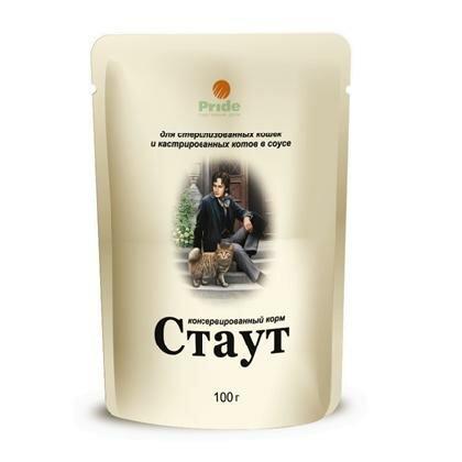Влажный корм Стаут в соусе для стерилизованных и кастрированных кошек, 100гр