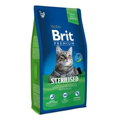 Сухой корм Brit Premium Сat Sterilised курица+печень для стерилизованных кошек, 8кг