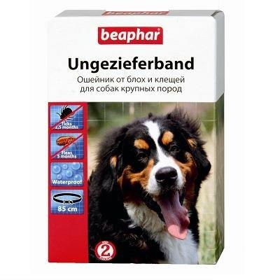 Ошейник Beaphar: от блох и клещей для собак (5мес), черный, 85 см